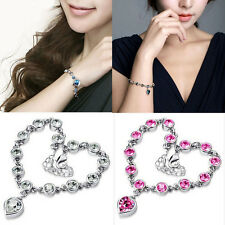 Hot Sale Fashion Women Ocean Crystal Rhinestone Heart Bangle Bracelet Jewelry