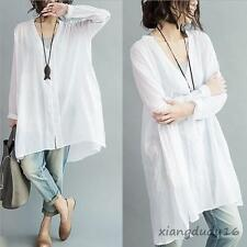 New ladies fashion blouse long sleeve slim fit linen casual shirt One size #