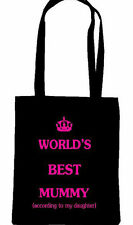 WORLDS BEST MUM MUMMY MOM MOTHER TOTE SHOPPING BAG MOTHERS DAY BIRTHDAY GIFT NAN