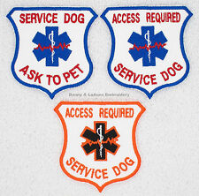 1 SERVICE DOG ACCESS REQUIRED PATCH ASK TO PET SHIELD Danny & LuAnns Embroidery