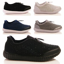 LADIES WOMENS DIAMANTE TOGGLE TRAINERS PUMPS COMFORT CASUAL WALKING SHOES SIZE
