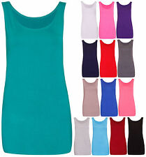Womens Scoop Neck Sleeveless Ladies Long Stretch Plain Vest Strappy T-Shirt Top