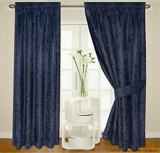 Lined Jacquard Navy Blue Floral Leaf Detail Curtains + Tie Backs 5 Sizes