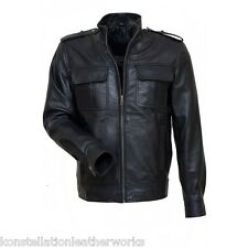 Leather Jacket Vintage Style Front Flap Pockets Soft Lambskin Jackets EHS M- 65