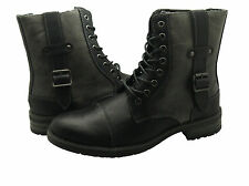 BRAND NEW Faranzi Mens Lace Up Leather Black Warm Winter Combat Military Boots