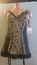 PLAYBOY Intimates Womens Sexy Lingerie Leopard Print Ruffle BabyDoll with Thong