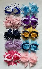 "Handmade Grosgrain Ribbon 4"" Stacked Party/Easter/School Bow Hair Clip(UK Seller"