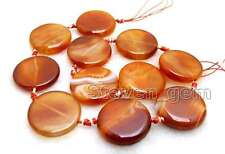 "SALE Big 28mm Round Coin Red Striped Natural agate Loose Beads strand 15""-los662"