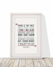 Bright Eyes First Day Of My Life Song Lyrics Frame A4 Print Typography Gift Idea