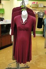 NWT JAPANESE WEEKEND Maternity Nursing Ribbed Knit Dress *SMALL 6-8* $96 Plum