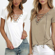 Cotton  Shirt Blouse  Short Sleeve  Womens  Pullover  Tops  Loose  New