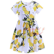 Baby Kids Girl Lemon Flower Princess Dress Summer Birthday Party Wedding Pageant