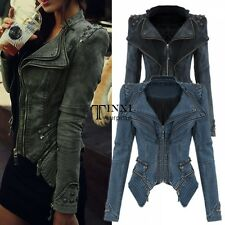 Women Denim Jeans Jacket Punk Rivet Studded Shoulder Notched Lapel Coat TXSU
