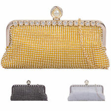 Ladies Designer Diamante Glittery Clasp Clutch Bag Bridal Evening Handbag K921