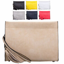 Ladies Designer Faux Leather Clutch Bag Wrist Strap Tassel Handbag Purse K950