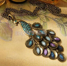 Fashion Vintage Bronze Style Peacock Blue/Green Crystal Chain Pendant Necklace S