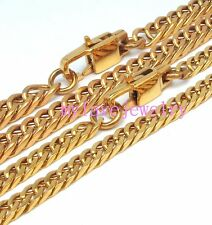 4.2mm ION Gold IP Plated 316L Stainless Steel Never Fade oblique Cut Cuban Chain