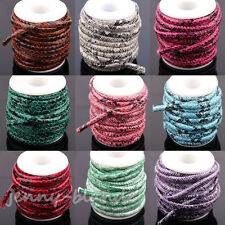 1/5m Snake Skin Faux Leather Cord PU Thread Wire Bracelet Making String 6mm Hot