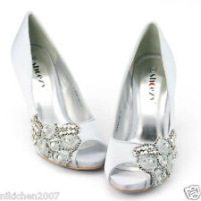 Womens satin silver peep toe pumps beads diamantes heels evening shoes size AU