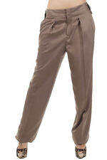 GUCCI Women Brown Silk Wide Leg Trousers Pants Made in Italy New Original