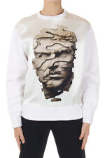 NEIL BARRETT Women White Masculine Bomber Fit Print Sweatshirt Made in Italy New