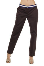 PRADA Women Brown Stretch Cotton Gabardine Trousers Pants Made in Italy