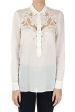 GUCCI Women white Embroidered cotton shirt buttons New made in italy