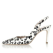 MIU MIU Women New White Printed Patent Leather Pumps Shoes Heels Made in Italy