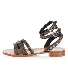 PRADA Women Brown Studded Leather Sandal Made in Italy New with Tag