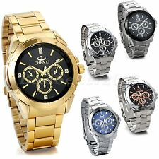 Mens Luxury Stainless Steel Band Sport Analog Quartz JAPAN Movement Wrist Watch