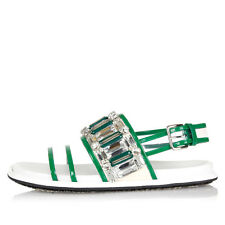 MARNI Women Leather and Fabric Green Sandals with Jewel Original Italy Made New