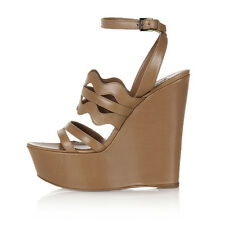 ALAÏA Women Brown Leather Sandals Shoes with Wedge Made in Italy New