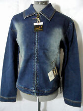 Nwt CLASH Jean Jacket womens M Dark wash Denim zip up coat Distressed Dark wash