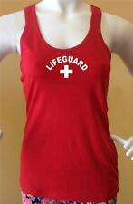 New Women's Lifeguard beach safety Pool Staff Sexy Cotton Red White Tank Top