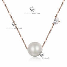 18k yellow rose gold GP made with SWAROVSKI crystal pearl pendant necklace
