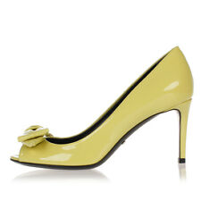GUCCI Women Yellow Patent Leather Pump with Ribbon Made in Italy New
