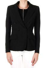PRADA Women Black Cady Double-Breasted Blazer Made in Italy New
