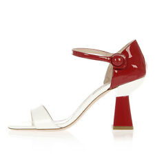 MIU MIU Women White and Red Patent Leather Sandals Shoes with Heel Made in Italy
