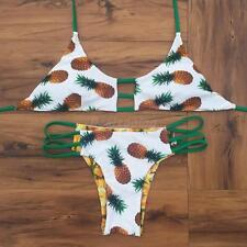 Sexy Halter Pineapple Print Triangle Padded Bikini Set Tropical Bathing Bikini