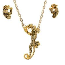Charm Women Crystal Animal Earrings And Leopard Pendant Necklace Jewelry Set