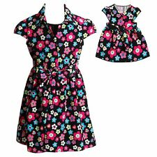 """Dollie & Me Girl 5-14 and 18"""" Doll Matching Floral Dress Clothes American Girl"""