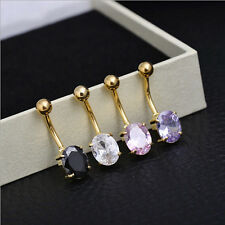 Navel Button Rhinestone New Piercing Belly Bar Ring Surgical Steel Crystal