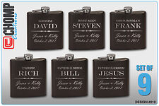 9 Personalized Engraved Flasks, Groomsman Gifts, Wedding Bridesmaid Party