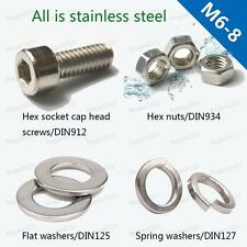 M6 M8 Stainless Steel Hex Socket Head Cap Screws Hex Nuts Flat & Spring Washers