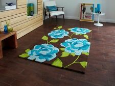 Small Funky Bright Blue Brown Flower Patterned Quality Hand Tufted Bedroom Rugs