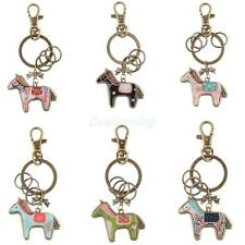 Antique Cute Horse Bronze Key Ring Keychain Keyfob with Lobster Clasp Novelty