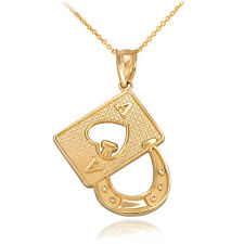 10k Yellow Gold Lucky Poker Ace Card Horseshoe Casino Gambling Pendant Necklace