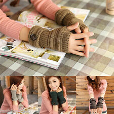 Lady Womens Utility Arm Warmer Long Fingerless Knit Mitten Winter Cuff Gloves