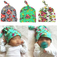 Cute Newborn Baby Beanie Hat Infant Toddle Cotton Boy Girl Floral Knotted Cap