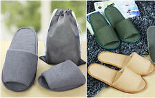 1 Pairs Unisex Disposable Soft Towelling Open Toe Hotel Slippers Travel with Bag